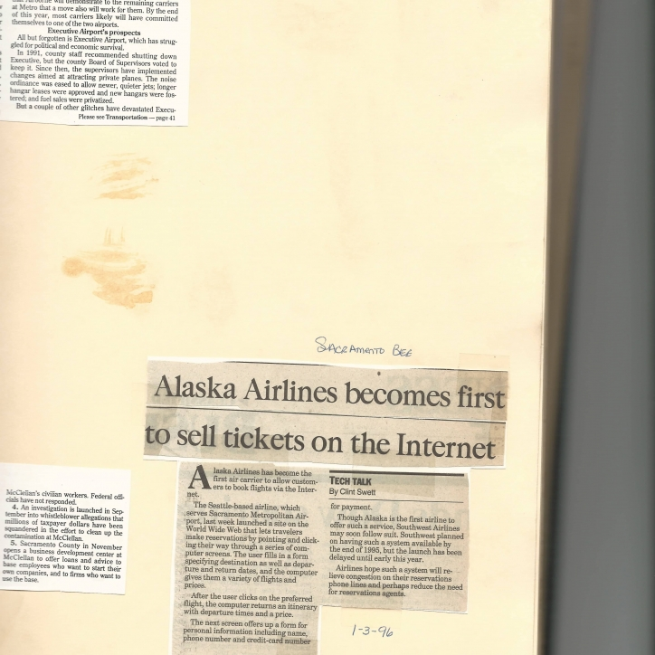 Alaska Airlines first online ticket - 1996