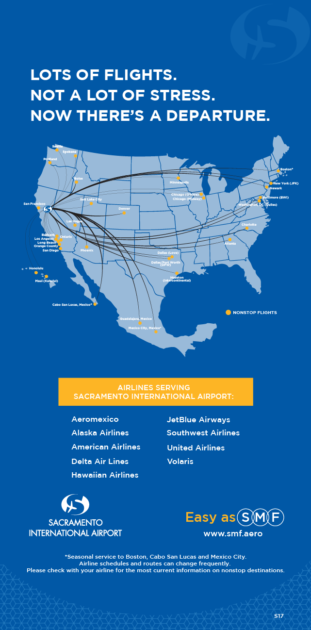 Map Map And Routes Of Airlines Serving Non Stop Flights To And From Sacramento International Airport