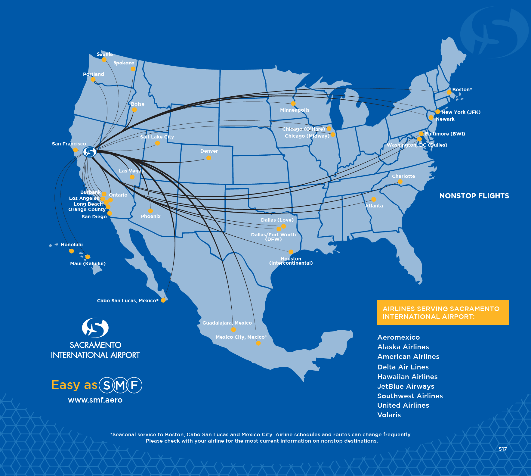 SMF Nonstop Destinations - Southwest flight map us