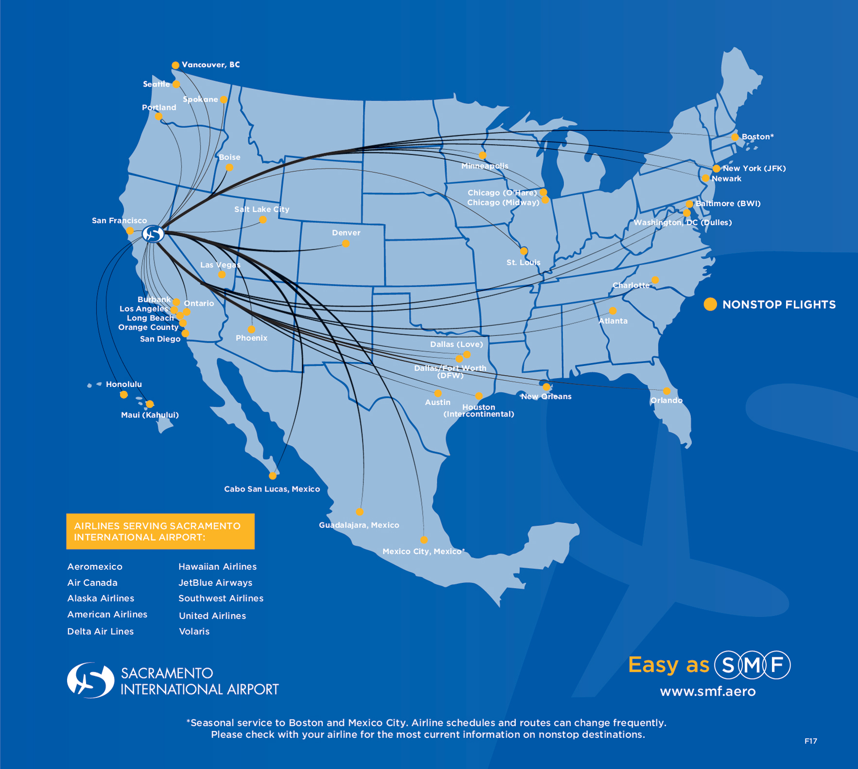 Lots of Flights. Not a lot of stress. Now there's a departure. Map and routes of Airlines Serving Non-stop flights to and from Sacramento International Airport - Aeromexico, Alaska Airlines, American Airlines, Delta Air Lines, Hawaiian Airlines, JetBlue Airways, Southwest Airlines, United Airlines, Volaris