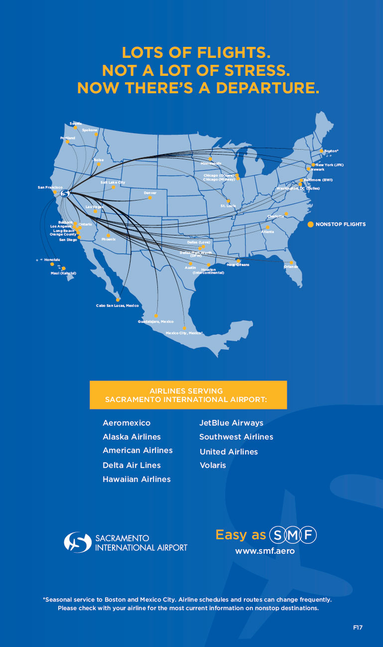 Map and routes of Airlines Serving Non-stop flights to and from Sacramento International Airport - Aeromexico, Alaska Airlines, American Airlines, Delta Air Lines, Hawaiian Airlines, JetBlue Airways, Southwest Airlines, United Airlines, Volaris