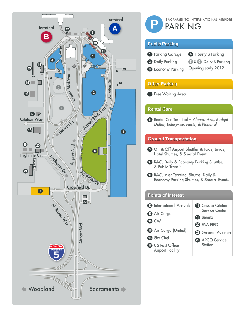 Parking Map for Sacramento International Airport