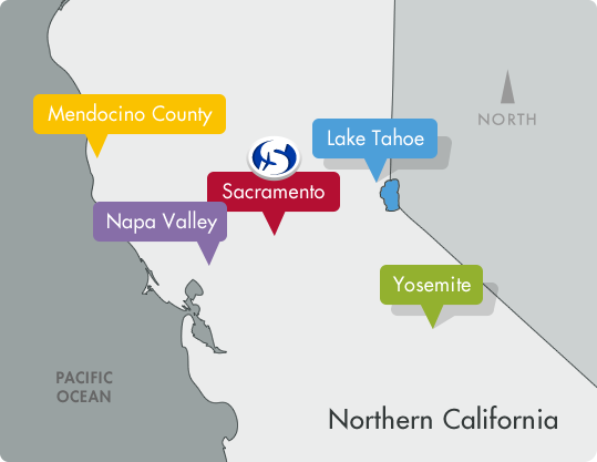 Northern California Travel Destinations Map: Mendocino County, Lake Tahoe, Sacramento, Napa Valley and Yosemite